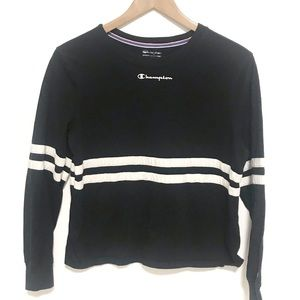 Champion black racer stripe crop top long sleeve